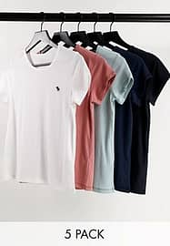 Abercrombie & Fitch 5er-Pack mehrfarbige T-Shirts mit Logo