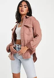 Abercrombie & Fitch Hemdjacke aus Wolle in Rosa