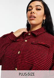 Missguided Plus Hemdjacke mit Hahnentrittmuster in Rot