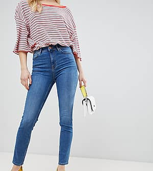 New Look Enge Lift-And-Shape-Jeans mit hohem Bund - Blau
