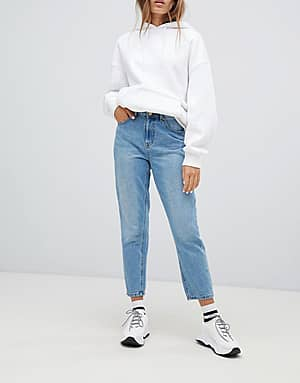 Only Blaue Mom-Jeans mit hoher