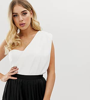 Missguided Drapierter Bodysuit in Weiß mit One-Shoulder-Träger - Weiß