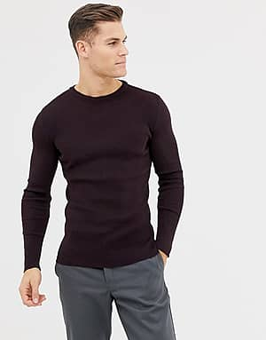 New Look Burgunderroter gerippter Pullover in Muscle Fit - Rot