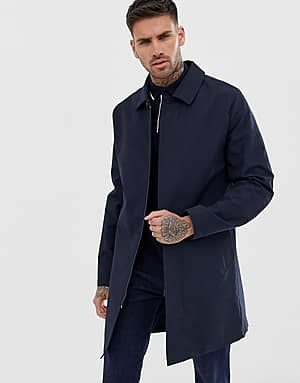 River Island Trenchcoat in Navy mit Karomuster - Navy
