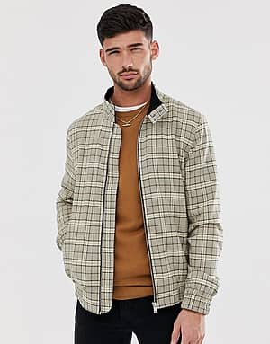 River Island Karierte Harrington-Jacke in Stone - Steingrau