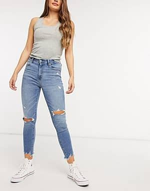 Abercrombie & Fitch Enge Jeans mit hoher